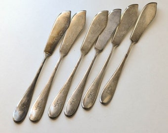 Restaurant Ware Knives, Monogram K, Fish Knives, Vintage Silver Plate Knives, Initial K, Gebr Hepp German Silver Plate