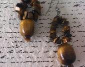 Tigers Eye Gemstone Chip Silver Earrings