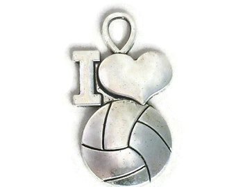 6 Medium Silver I Love Volleyball Charm Pendant 31x17mm by TIJC SP1016