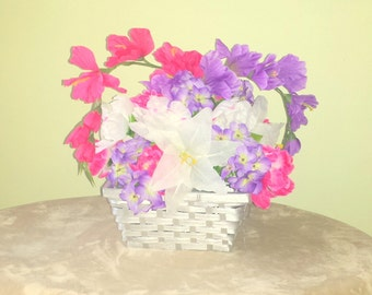 Floral Arrangement in Basket,Silver Basket Flowers,Flower Arrangement,Everyday Home Decor,Housewarming Gift,Basket of Lilies,Flower Basket