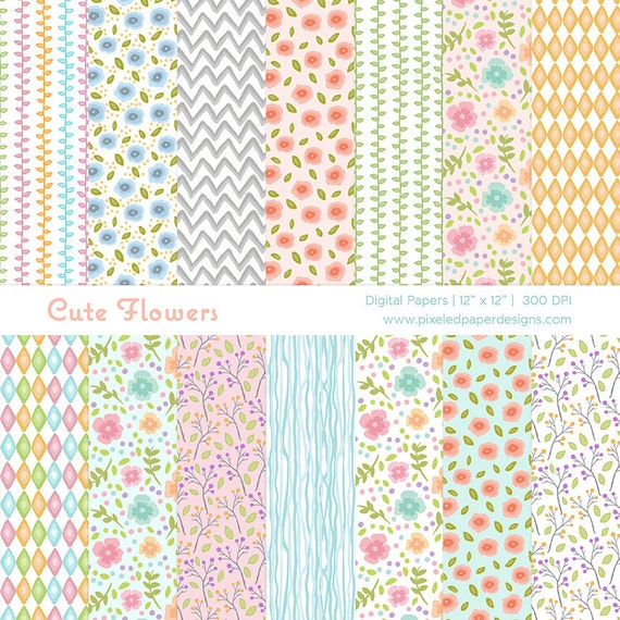 Cute Flowers Digital Paper - Digital Background for Scrapbook, Cards, DIY,  Photography, Invites etc | Commercial License Available