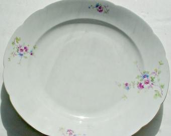 MZ Czechoslovakia plate, MZ Czechoslovakia Platter,  Moritz Zdekauer Chop Plate, Pink Floral Czechoslovakia Chop Plate, Altrohlau Platter