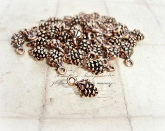 6 x Antique Copper Pine Cone Charms