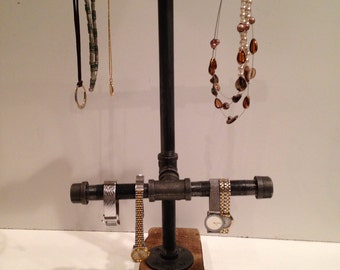 Industrial pipe jewelry double display stand