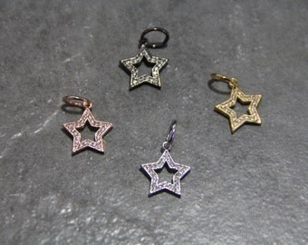 CZ Micro Pave 14mm Star  Charm with Jump Ring