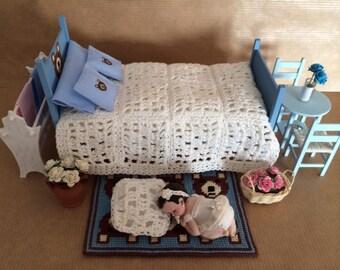 Beige Crochet Quilt  - Cubre pies beis de ganchillo. 1:!2 scale Dollhouse Miniature