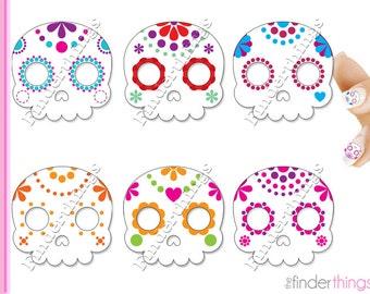 Sugar Skulls Day of the Dead Nail Art Decal Sticker Set SKU909