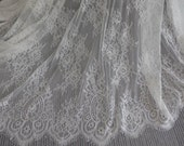 "57"" White Chantilly Galloon Fabric with Floral Pattern Beautiful Wedding Gown Lace Fabric"