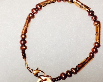Handmade Copper and Pearl Bracelet
