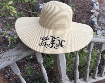 MONOGRAMMED Beach Hat - Floppy Hat - Bridesmaid Gifts - Travel - Summer-Derby Hats