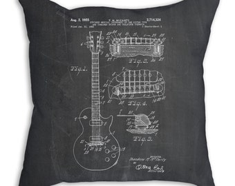Gibson Les Paul Patent Pillow, Guitar Pillow, Music Teacher Gift, Guitar Blueprint, Music Pillow, Guitar Bedding, PP0047