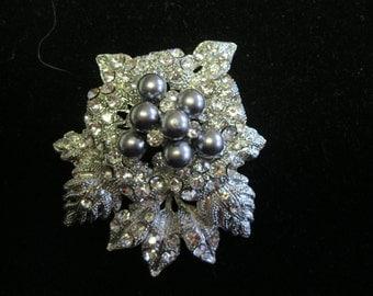 Sparkling Gray Pearl Pave Rhinestone Silvertone Metal Flower Brooch