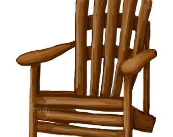 Adirondack Chair clip art, adirondack chair painting, hand painted clip art, chair clip art, adirondack printable