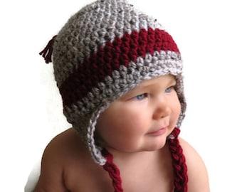 Crochet knit earflap baby hat, grey/ red crochet earflap hat12-18 mos.