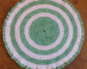 "12"" Hand Crocheted Green & White Doily"