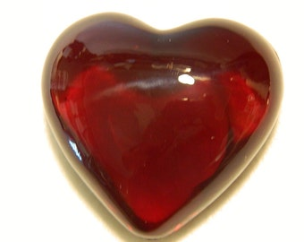 Ruby Red Glass Heart