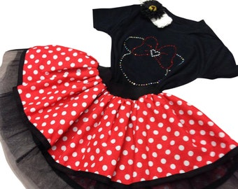 Baby Girl Toddler Minnie Mouse Fancy Dress Party Costume Polka Dot Tutu Skirt Rhinestone Design Vesr or Shirt