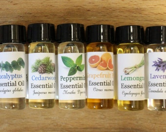 Pure Essential Oils Sample Set of 6  for Beginners 1 Dram (75 drops) Each Bottle 100% Uncut Therapeutic and Food Grade