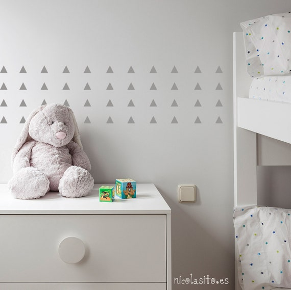 Silver triangle wall decals triangle wall stickers silver for Silver bedroom wall art