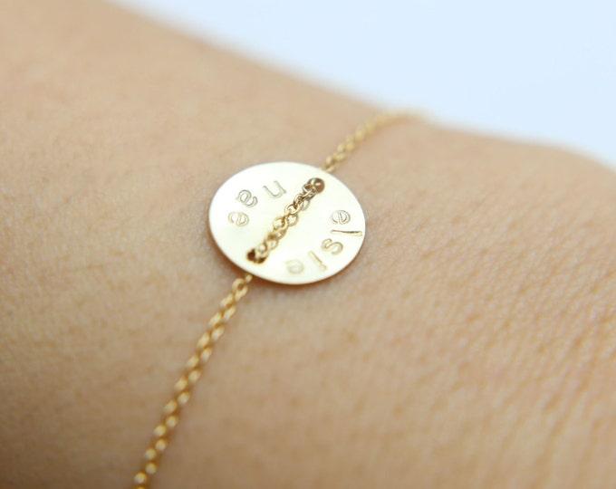 Personalized disc Name Bracelet - Gold filled /Sterling silver disc bracelet   EB013