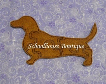 Felt Dachshund Dog Learning Puzzle -Logic Thinking Game - Easter Basket Filler - Stocking Stuffer - Preschool Puzzle -Soft Game