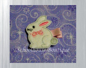 Bunny with Bow Felt Hair Clips, Felties, Feltie Hair Clip, Felt Hairbow, Felt Hair Clip, Felt Hair Clippie, Party Favor