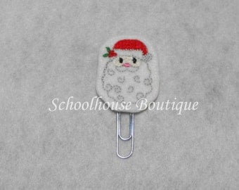 Holly Santa felt paperclip bookmark, felt bookmark, paperclip bookmark, feltie paperclip, christmas gift, teacher gift, journal accessory