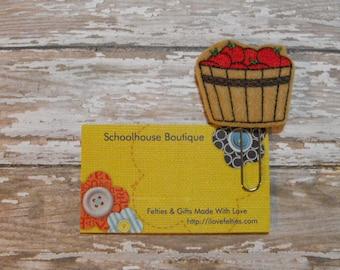 Basket of Apples felt paperclip bookmark, felt bookmark, paperclip bookmark, feltie paperclip, christmas gift, teacher gift