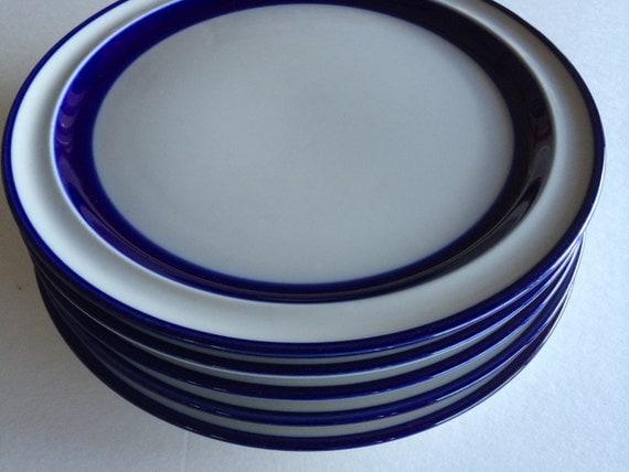 Noritake Fjord Plates Cobalt Blue Rim Similar To Arabia