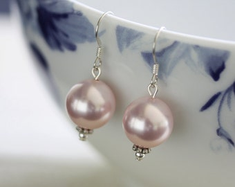 Pink Pearl Earrings,  Swarovski Pearl Earrings, Pearl Drop Earrings, Large Pearl earrings, Large drop earrings, Pink Earrings,Large Earrings