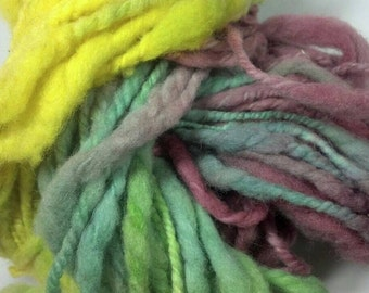 Shropshire Hand spun wool Yarn, Thick and Thin, 2 ply, eco friendly, Red, Yellow, Green, art yarn