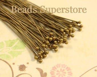SALE 2 Inch (50 mm) Antique Brass Ball End Head Pin - Nickel Free and Lead Free - 100 pcs (BP2AB)