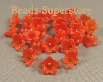 SALE 13 mm x 7 mm Red Lucite Flower Bead - 20 pcs