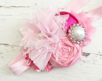 pink headband chiffon lace pearl headband-light pink hot pink headband