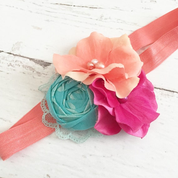 Salmon Coral Bright Pink Teal Rosette By Goldfeatherboutique