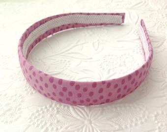 Fabric headband: plum headband, purple headband, grape headband, fabric covered plastic headband. Wide headband, hard headband. Big girl