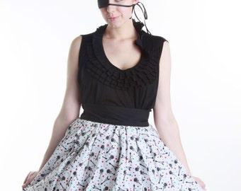 Full skirt Lolita Style White Rock and Roll Fantasy