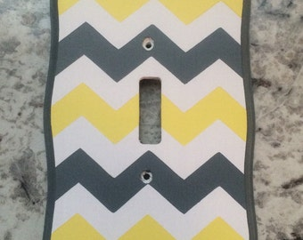 Light Plate Outlet Cover Chevron Zig Zag Gray White Yellow  Nursery Bedding Room Decor Elephant
