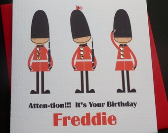 Personalised Queen's Guard Handmade Birthday Card