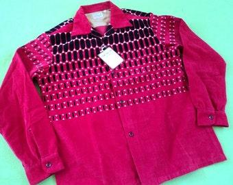 1950s Rockabilly Repro Shirt Elvis Dot Style Eyes Japan MEDIUM NWT