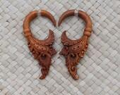 Fake Gauge Earring Brown Medium Wooden Earring - Fake Piercing Earring