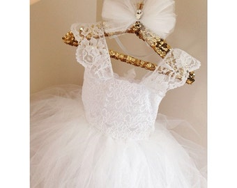 "The ""Angel"" dress All white lace baptism and flower girl tutu dress- flower girl dress-birthday girl dress-vintage dress-headband included"