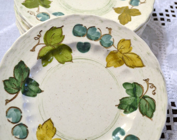 Vintage Metlox Vernon Ware Vineyard Bread Plate Set of 8 White Gold Green Teal Blue PanchosPorch