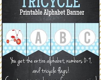 Tricycle Printable Alphabet Banner - Instant Download