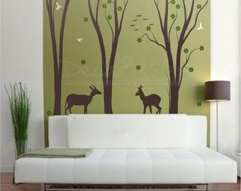 Birch Tree Wall Decal, Forest Wall Decals, Animal Wall Decals, Wall Sticker  Set Part 93