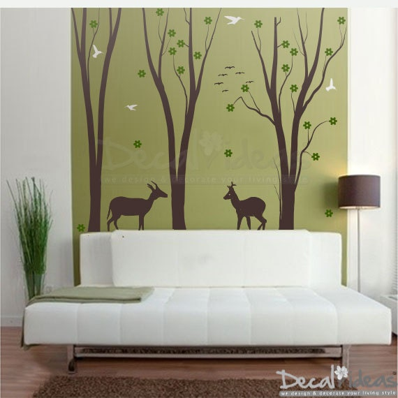 Birch Tree Wall Decal Forest Wall Decals Animal Wall Decals