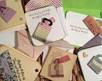 6 When The Going Gets Tough... Greeting Cards Tags Friendship Various Sizes Handcrafted Envelopes