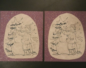 Set of 2 Handmade Christmas Snowman Gift Tags