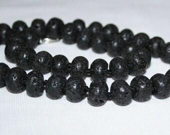 Lava stone beads 12mm. Black lava stone.