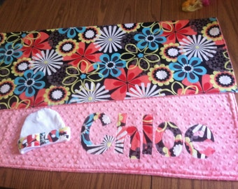 Newborn name blanket, Minky Baby blanket, Minky blanket, Personalized Minky blanket, Baby girl minky blanket
